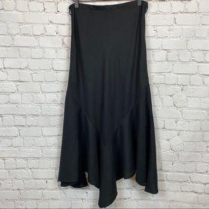 LARRY LEVINE Asymmetrical Hem Linen Skirt 4 Black